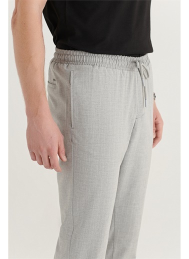 Avva Erkek Yandan Cepli Beli Lastikli Kordonlu Çizgili Relaxed Fit Pantolon E003001 Gri